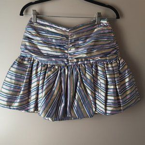Zara Metallic Striped Mini Balloon Skirt | New! S